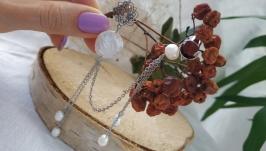 Кафф с сережкой с барочным жемчугом ′Снегопад′