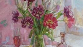 Картина ′Опьяненная весной′ букет тюльпанов цветы натюрморт купить киев
