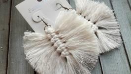 Серьги - макраме чисто белого цвета
