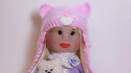 Лялька бузково-рожева Киця