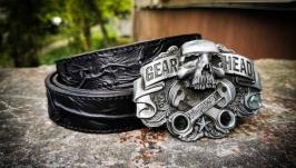 Кожаный байкерский ремень