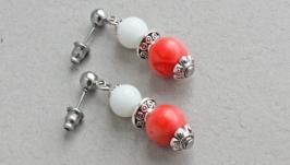 Розовые серьги с кораллом Маленькие сережки гвоздики