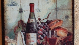Вино и сыр - квадратная доска декупаж 16,5см. Кухонный декор. Мини-картина