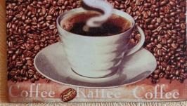 Кофе - квадратная доска декупаж 16,5см. Декор. Мини-картина