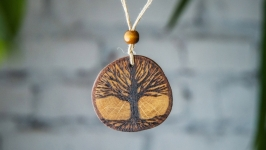 Round Wooden Pendant. Wooden Necklace Tree of Life. Pyrography Pendant.