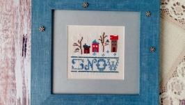 Картина вышитая крестом ′Снежный день′