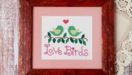Картина вышитая крестом ′Влюбленные птички′