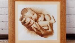 Картина вышитая крестом ′Новорожденный′