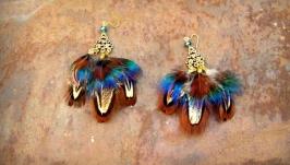 Серьги с перьями Мотылек