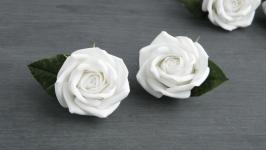 Резинки для волос с белыми розами для девочки в подарок на день рождения