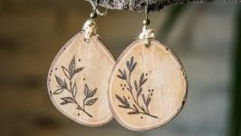 Natural Wooden Dangle Earrings. Pyrography. Wood Burneed Floral Earrings.