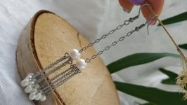 Серьги стальные с белым жемчугом ′Медуза′