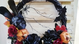 Black wreath, gothic wreath, halloween front door decor, bat wreath