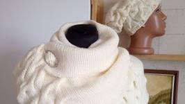 Вязаные шарф-накидка и шапка женские зимние