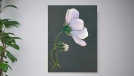 Картина на дереве 40х30см ′Космея розовая′