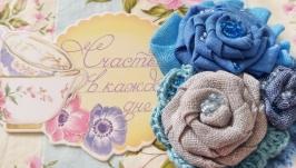 Бохо брошь текстильная ′Небеса′