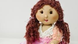 Интерьерная кукла ручной работы в розовом платье