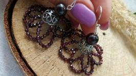 Серебряные серьги с гранатом ′Каменный цветок′
