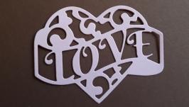 вырубка Сердечко LOVE, Высечки для скрапбукинга