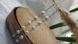 Серебряные серьги - подвески из жемчуга ′Жаклин′