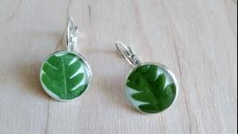 Серьги с листьями папоротника.