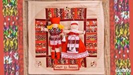 Неразлучники на коврике 38х38 см. Народная свадебная кукла.