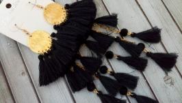 Супер длинные серьги с черными хлопковыми кисточками