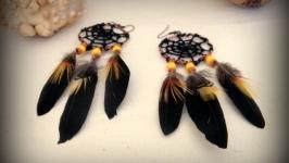 Серьги с перьями Хеллоуин (желтые)