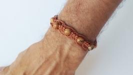 Мужской кожаный браслет с бусинами ′BrStone′