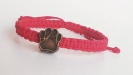 Плетеный браслет-оберег (красная нитка) ′CatPaw′