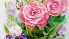 Картина маслом ′Розы и ирисы′, мастихин