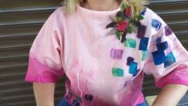 Валяный джемпер, свитшот  ′Розовый рассвет′