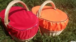 Грибная корзина с текстильной крышкой.