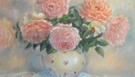 Oil painting Roses in a vase .
