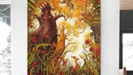 Картина на дереве 90х76см ′Лис и бельчонок′