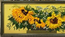 картина ′Золотое лето′ - вышивка лентами