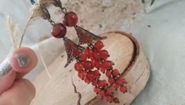 Серьги с агатом и сердоликом ′Мальвы′