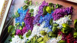 картина ′ Букет  сирени ′ - вышивка лентами