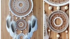 Ловец снов с перьями орла, натуральные материалы, подарок любимому.