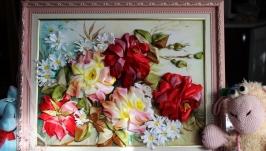картина ′ Розы от Дугласа′ - вышивка лентами