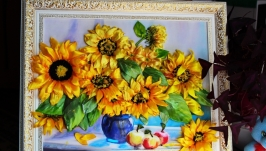 картина  ′Солнышки - подсолнушки′- вышивка лентами