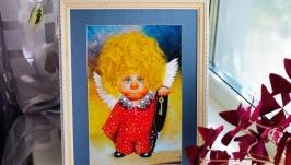 картины ′Ангелочки′ - вышивка лентами
