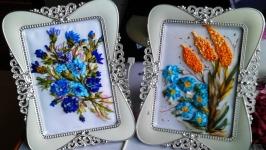 миниатюрки ′Цветы′ - вышивка лентами