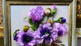 картина ′ Сиреневый блюз′ - вышивка лентами