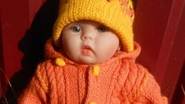 Вязаный комплект ′Лисичка′  ручной работы для малышей от 0 до 4 месяцев