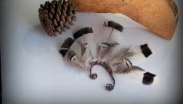 Кафф с перьями Черное и Белое