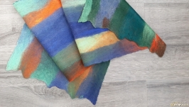 Felted Men′s Scarf, Felt cobweb scarf, Felt Stripped Blue Scarf