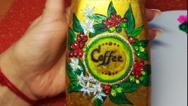 Банка для кофе, сувенир, роспись акрилом