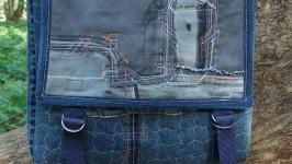 Сумка джинсовая большой планшет