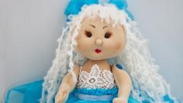 Интерьерная кукла ручной работы блондинка в голубом платье